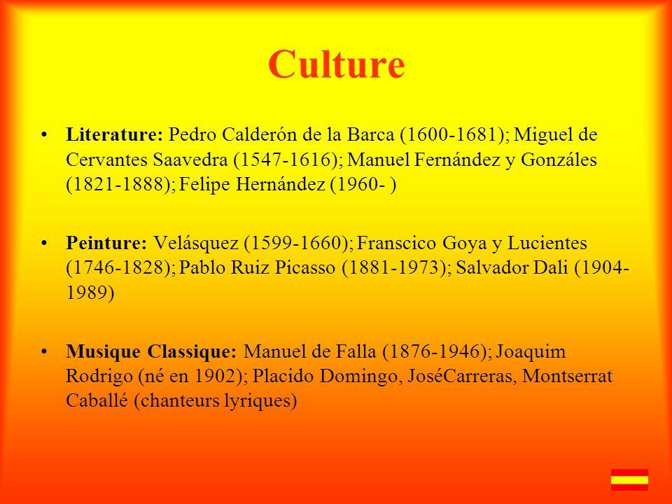 Culture Literature: Pedro Calderón de la Barca (1600-1681); Miguel de Cervantes Saavedra (1547-1616); Manuel Fernández y Gonzáles (1821-1888); Felipe