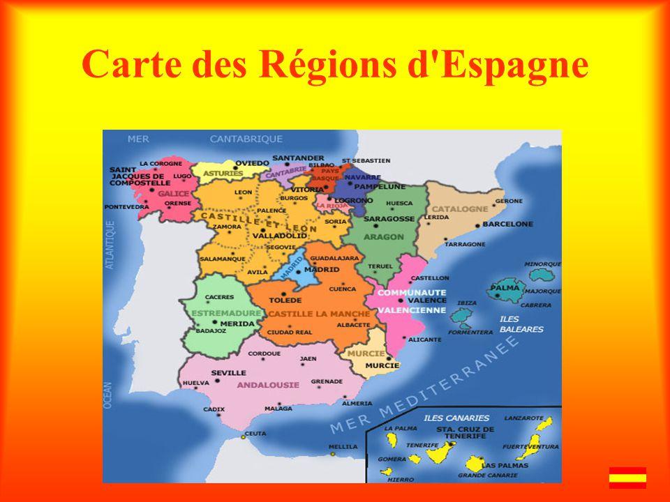 Carte des Régions d'Espagne