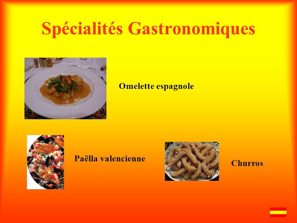 Spécialités Gastronomiques Omelette espagnole Paëlla valencienne Churros