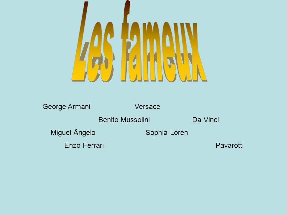 George Armani Versace Benito Mussolini Da Vinci Miguel Ângelo Sophia Loren Enzo Ferrari Pavarotti