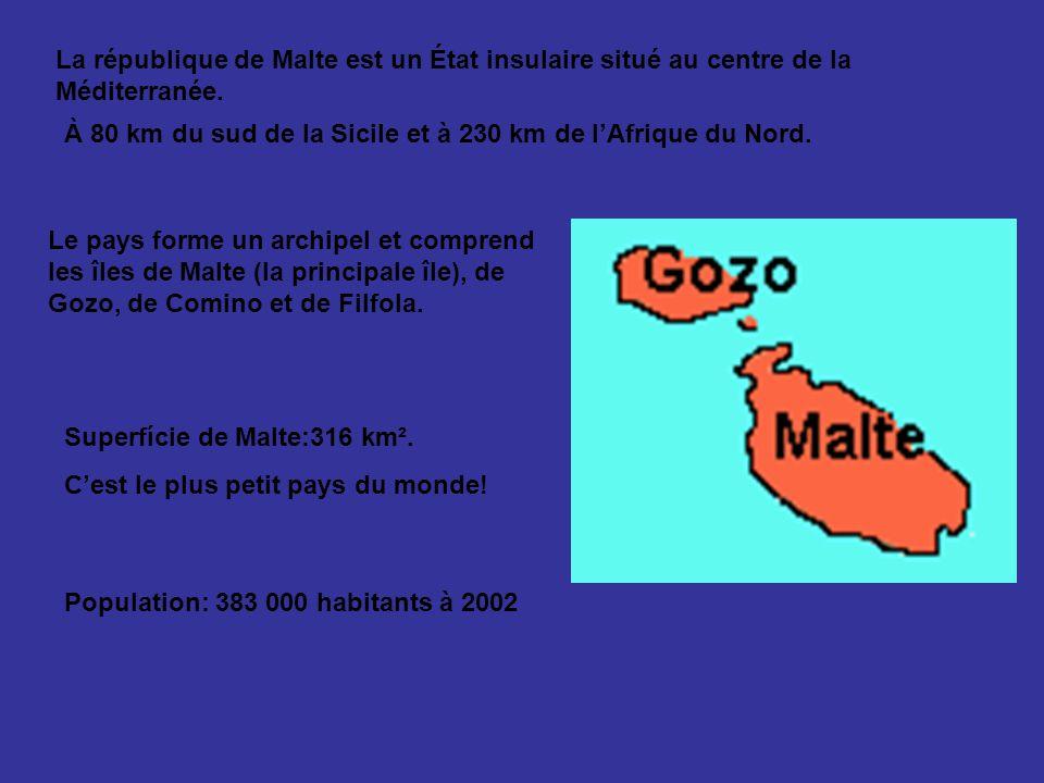 La république de Malte est un État insulaire situé au centre de la Méditerranée. À 80 km du sud de la Sicile et à 230 km de lAfrique du Nord. Le pays