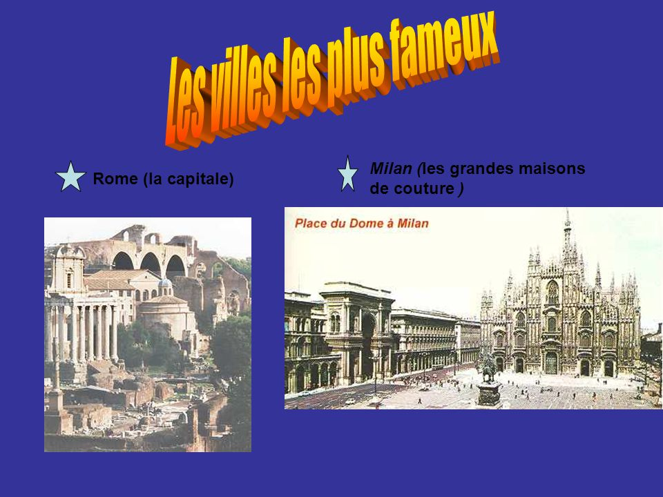 Rome (la capitale) Milan (les grandes maisons de couture )