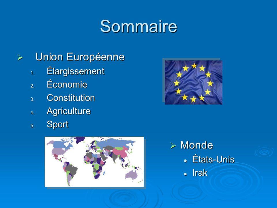Sommaire Union Européenne Union Européenne 1. Élargissement 2. Économie 3. Constitution 4. Agriculture 5. Sport Monde Monde États-Unis États-Unis Irak