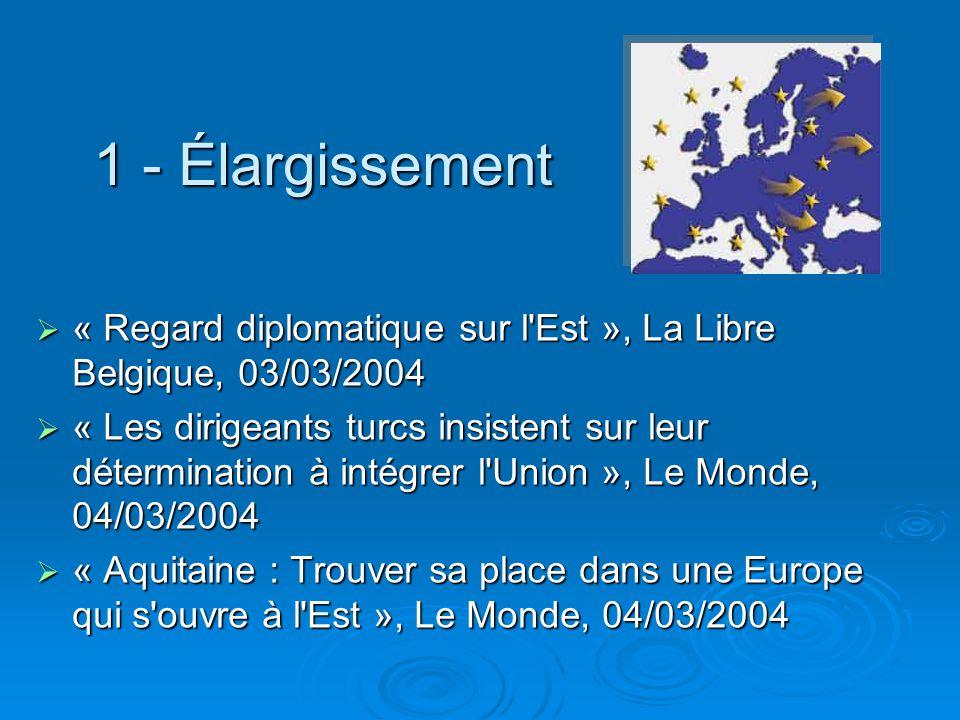 1 - Élargissement « Regard diplomatique sur l'Est », La Libre Belgique, 03/03/2004 « Regard diplomatique sur l'Est », La Libre Belgique, 03/03/2004 «