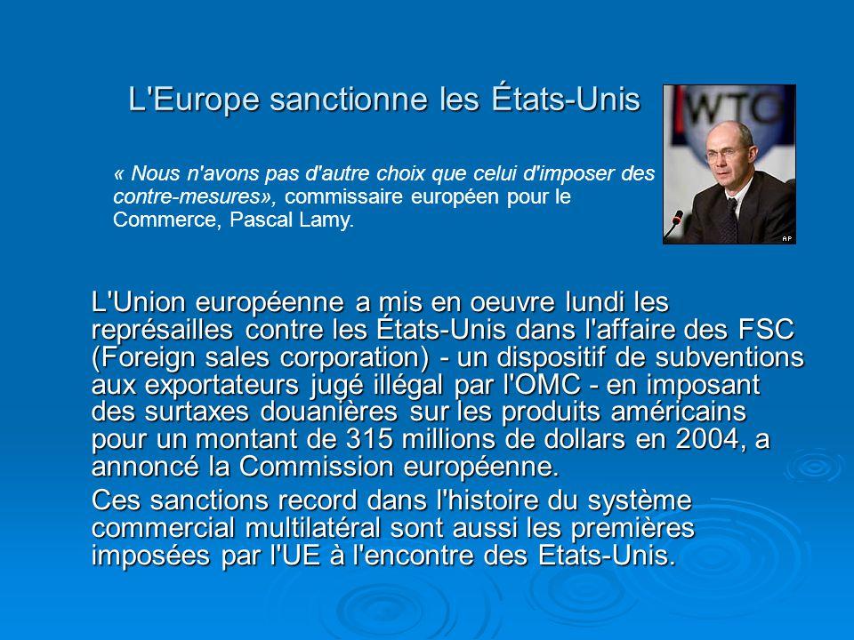 L'Europe sanctionne les États-Unis L'Union européenne a mis en oeuvre lundi les représailles contre les États-Unis dans l'affaire des FSC (Foreign sal