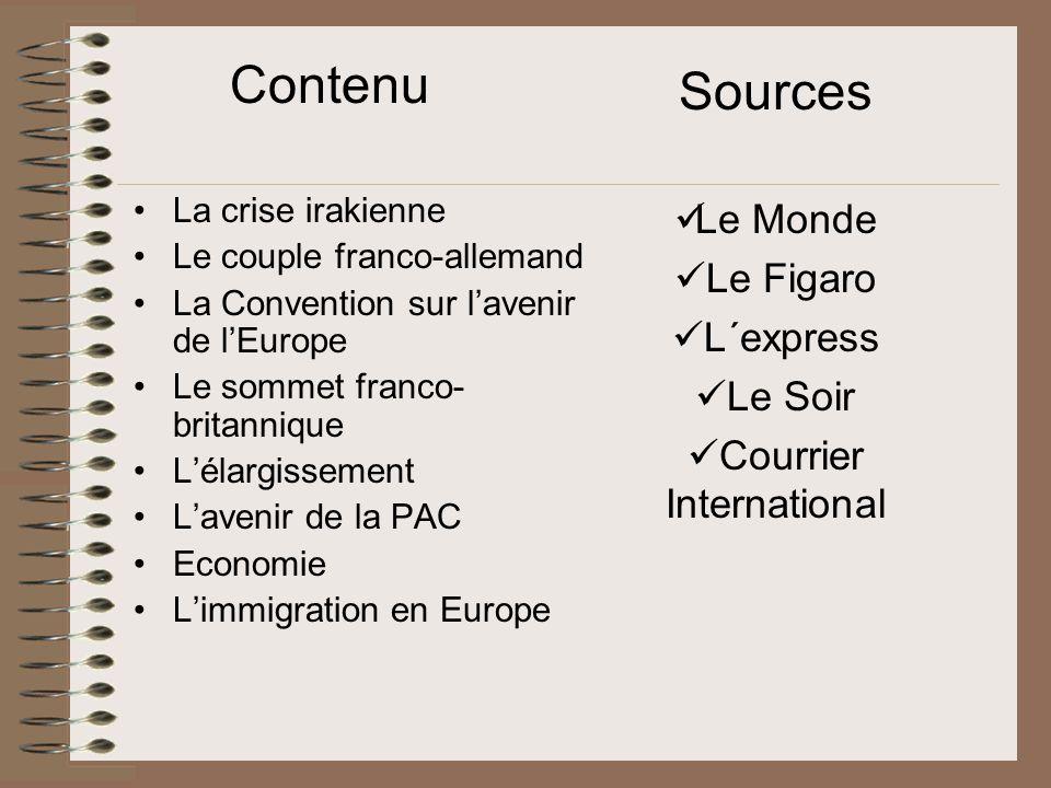 La crise Irakienne L´Irak et les États-Unis fracturent l´Union Européenne Les tensions transatlantiques s´échauffent : Chirac propose un plan de désarmement complet, tandis que Bush déclare que la partie est finie.