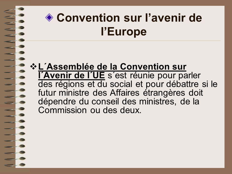 Convention sur lavenir de lEurope L´Assemblée de la Convention sur l´Avenir de l´UE s´est réunie pour parler des régions et du social et pour débattre si le futur ministre des Affaires étrangères doit dépendre du conseil des ministres, de la Commission ou des deux.