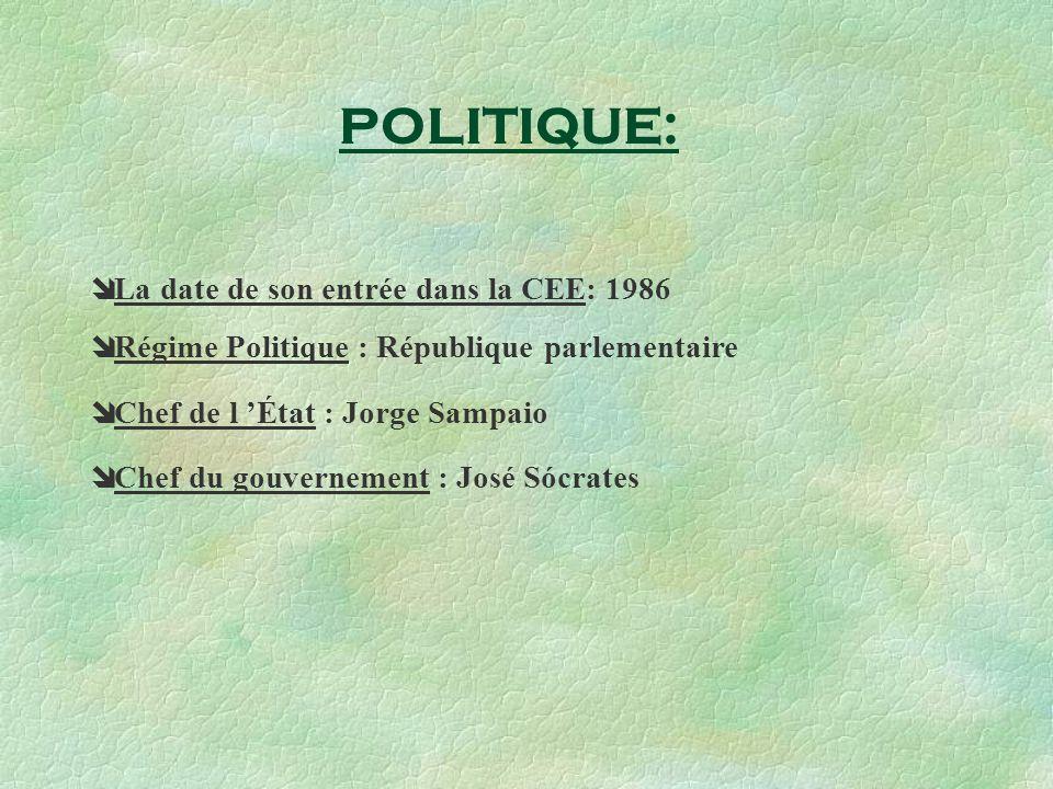 La date de son entrée dans la CEE: 1986 Régime Politique : République parlementaire Chef de l État : Jorge Sampaio Chef du gouvernement : José Sócrates POLITIQUE: