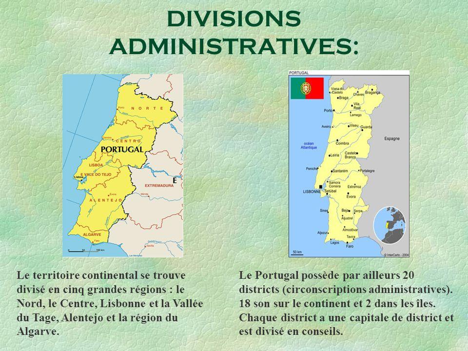 DIVISIONS ADMINISTRATIVES: Le territoire continental se trouve divisé en cinq grandes régions : le Nord, le Centre, Lisbonne et la Vallée du Tage, Ale