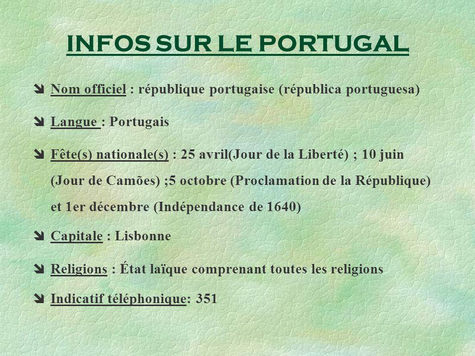 INFOS SUR LE PORTUGAL Nom officiel : république portugaise (républica portuguesa) Langue : Portugais Fête(s) nationale(s) : 25 avril(Jour de la Libert