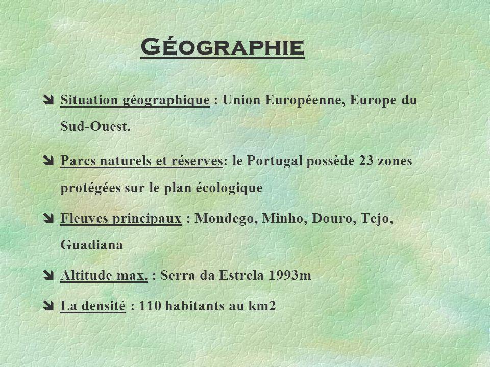 Situation géographique : Union Européenne, Europe du Sud-Ouest. Parcs naturels et réserves: le Portugal possède 23 zones protégées sur le plan écologi