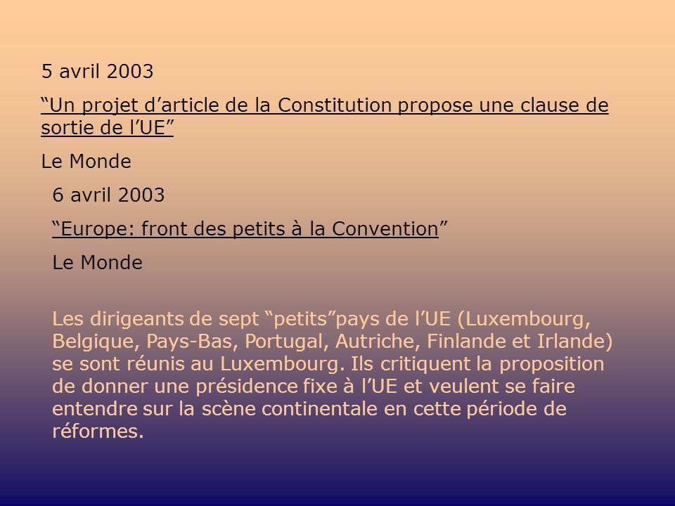 5 avril 2003 Un projet darticle de la Constitution propose une clause de sortie de lUE Le Monde 6 avril 2003 Europe: front des petits à la Convention