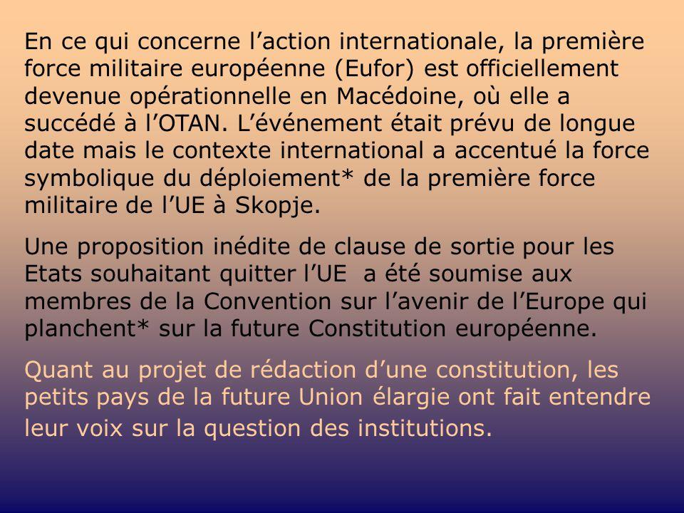 En ce qui concerne laction internationale, la première force militaire européenne (Eufor) est officiellement devenue opérationnelle en Macédoine, où e
