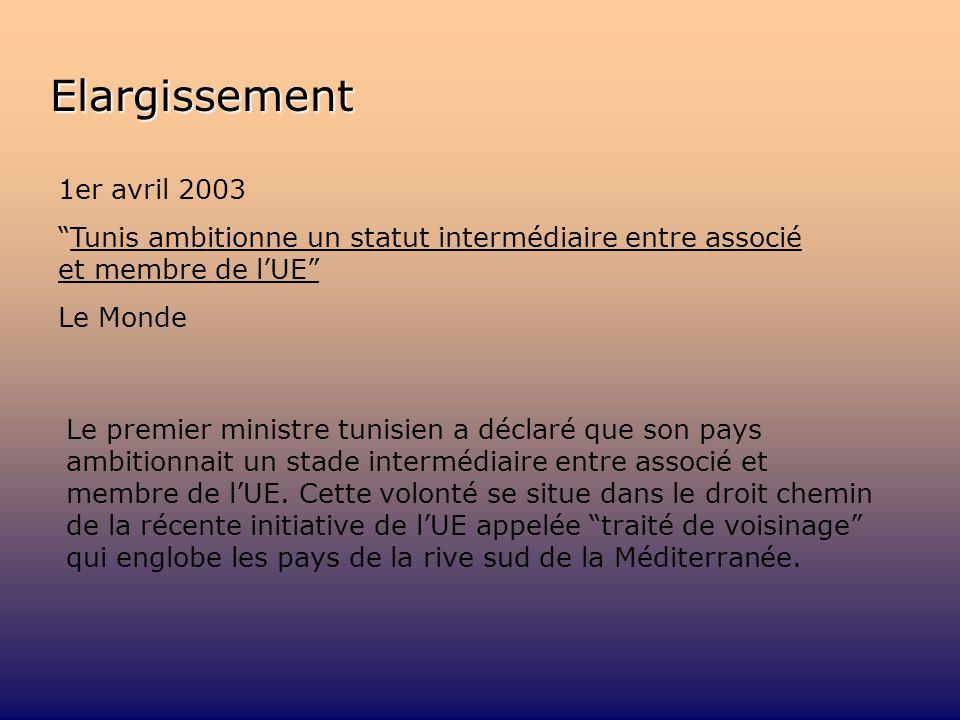 Elargissement 1er avril 2003 Tunis ambitionne un statut intermédiaire entre associé et membre de lUE Le Monde Le premier ministre tunisien a déclaré que son pays ambitionnait un stade intermédiaire entre associé et membre de lUE.