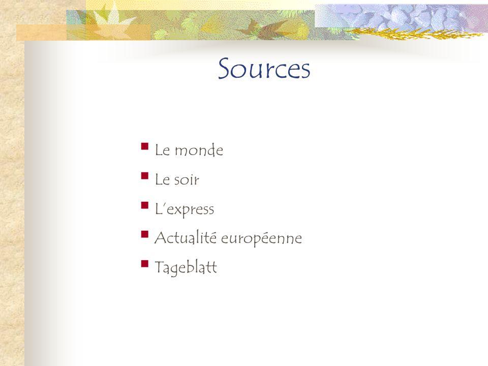Sources Le monde Le soir Lexpress Actualité européenne Tageblatt
