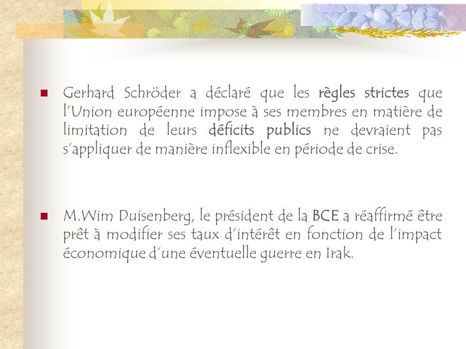Gerhard Schröder a déclaré que les règles strictes que lUnion européenne impose à ses membres en matière de limitation de leurs déficits publics ne de