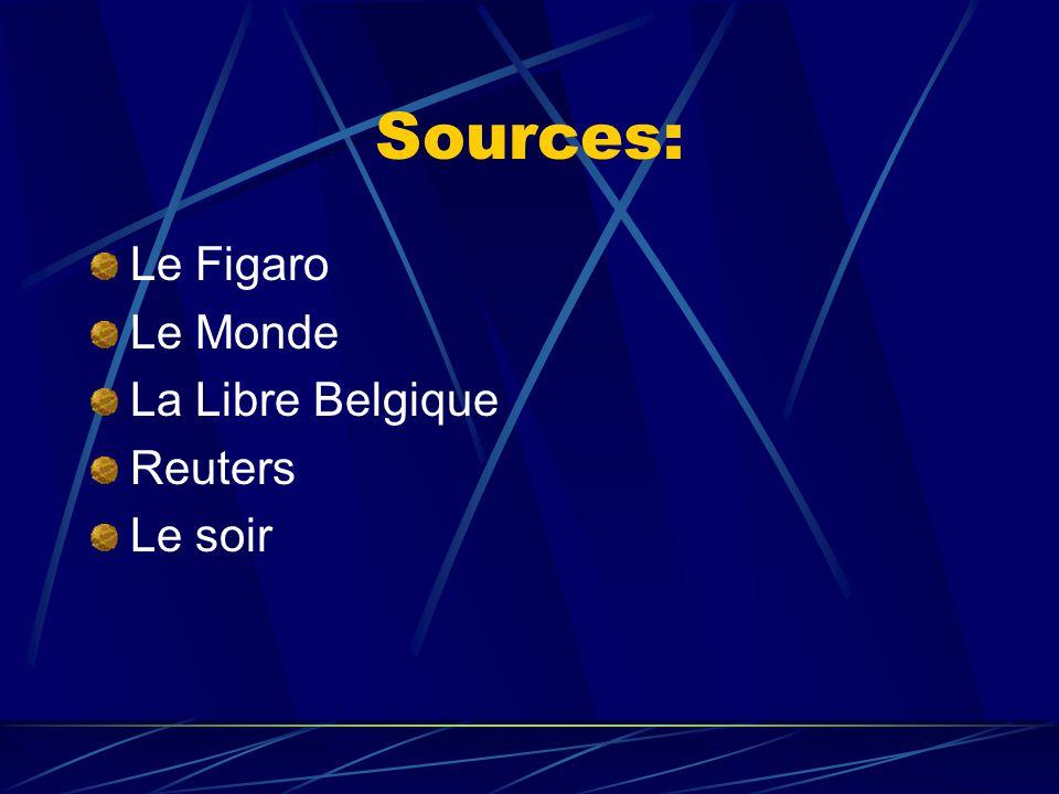 Sources: Le Figaro Le Monde La Libre Belgique Reuters Le soir
