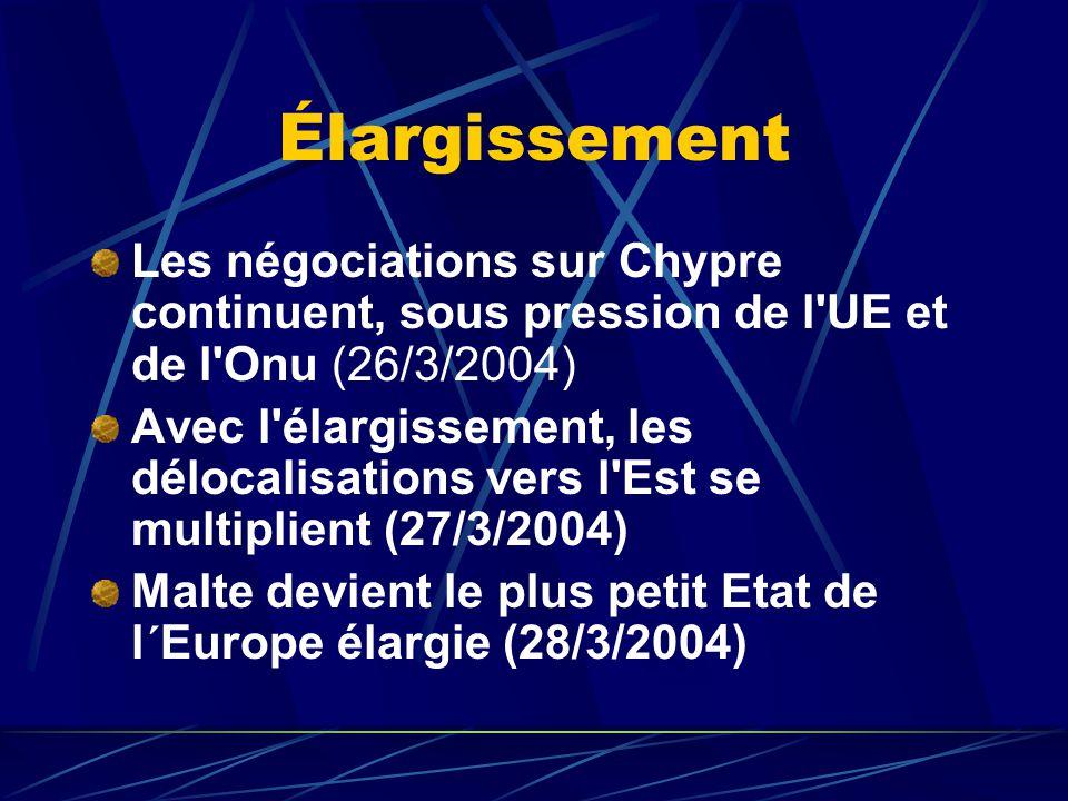 Élargissement Les négociations sur Chypre continuent, sous pression de l UE et de l Onu (26/3/2004) Avec l élargissement, les délocalisations vers l Est se multiplient (27/3/2004) Malte devient le plus petit Etat de l´Europe élargie (28/3/2004)