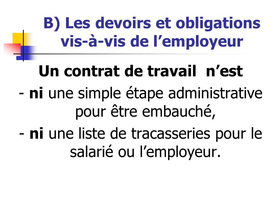 B) Les devoirs et obligations vis-à-vis de lemployeur Un contrat de travail nest - ni une simple étape administrative pour être embauché, - ni une lis