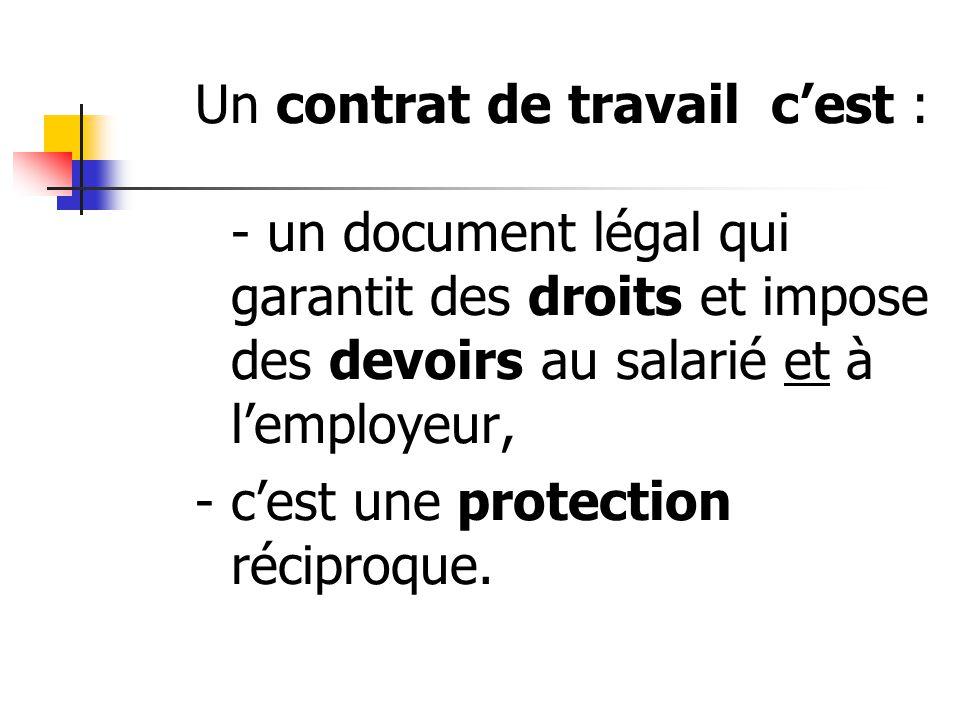 Un contrat de travail cest : - un document légal qui garantit des droits et impose des devoirs au salarié et à lemployeur, - cest une protection récip