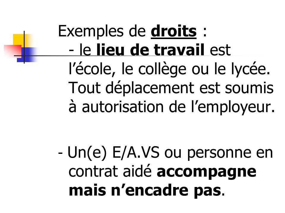 Exemples de droits : - le lieu de travail est lécole, le collège ou le lycée. Tout déplacement est soumis à autorisation de lemployeur. - Un(e) E/A.VS