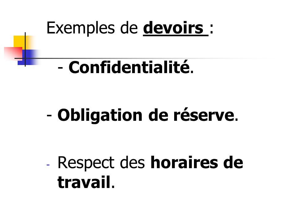 Exemples de devoirs : - Confidentialité. - Obligation de réserve. - Respect des horaires de travail.