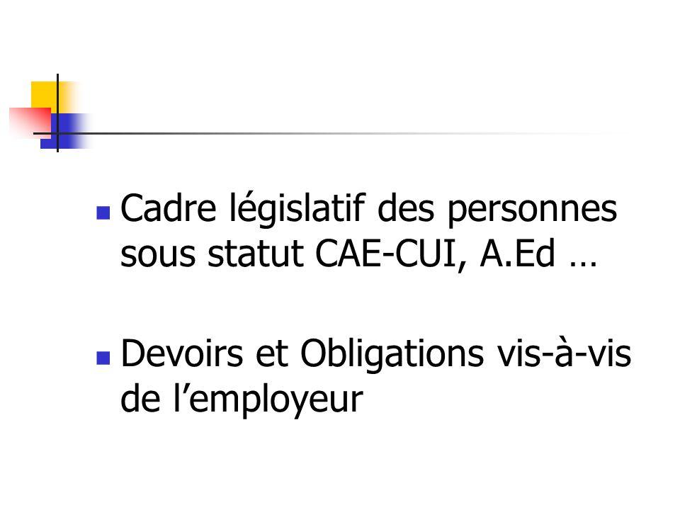 A) Les difficultés inhérentes à ce type demploi 1) La multiplicité des statuts : - C.A.E (Contrat dAccompagnement dans lEmploi) - C.U.I (Contrat Unique dInsertion)