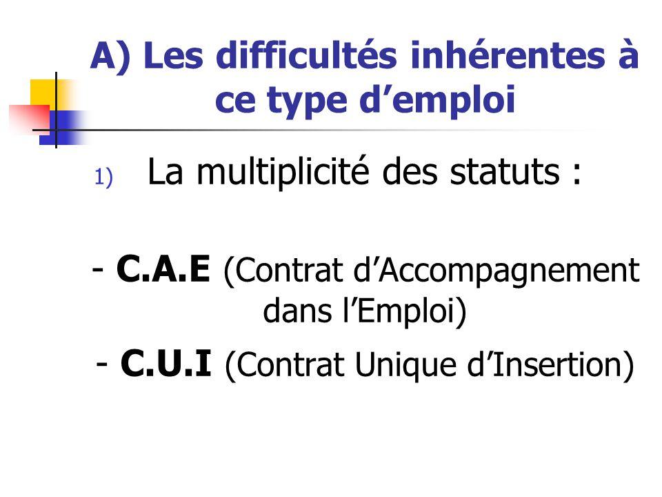 A) Les difficultés inhérentes à ce type demploi 1) La multiplicité des statuts : - C.A.E (Contrat dAccompagnement dans lEmploi) - C.U.I (Contrat Uniqu