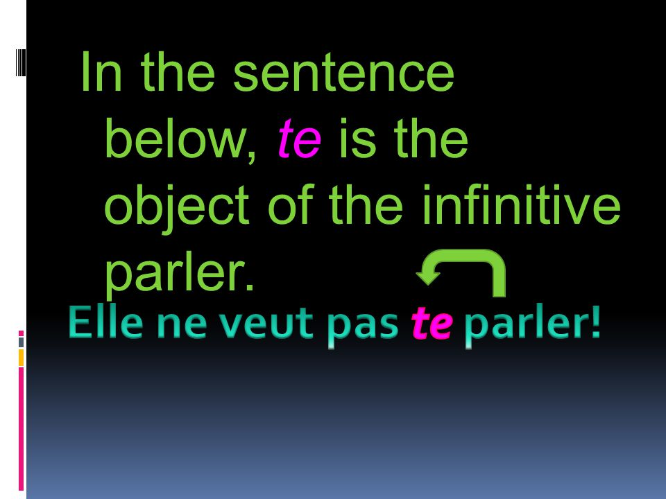 In the sentence below, te is the object of the infinitive parler.