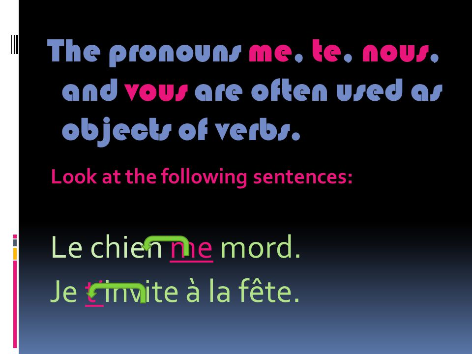 In the sentence below the pronoun me is the direct object of the verb because it is receiving the action of the verb.