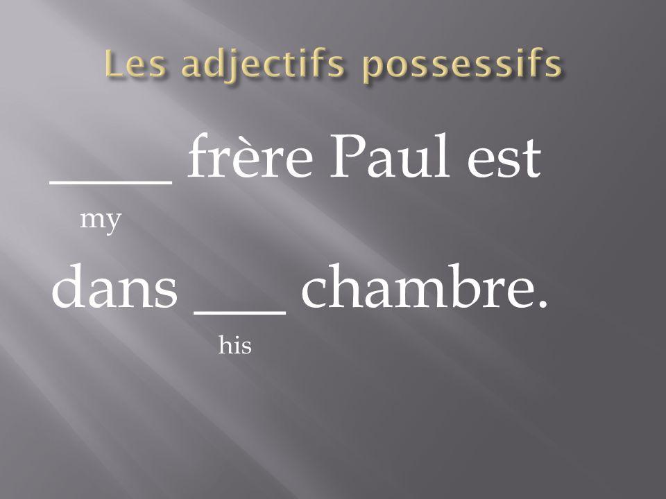 ____ frère Paul est my dans ___ chambre. his