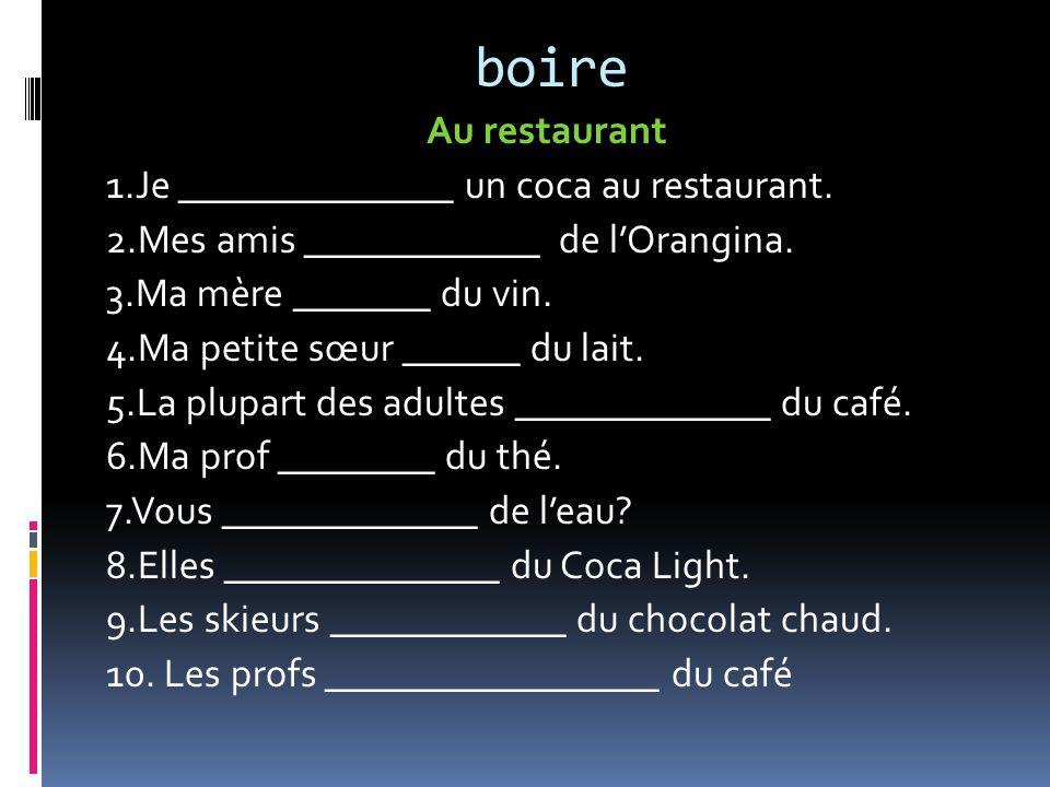 boire Au restaurant 1.Je ______________ un coca au restaurant.