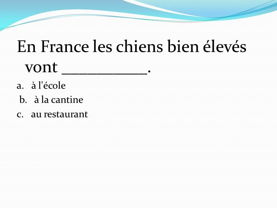 En France les chiens bien élevés vont __________. a. à l'école b. à la cantine c. au restaurant