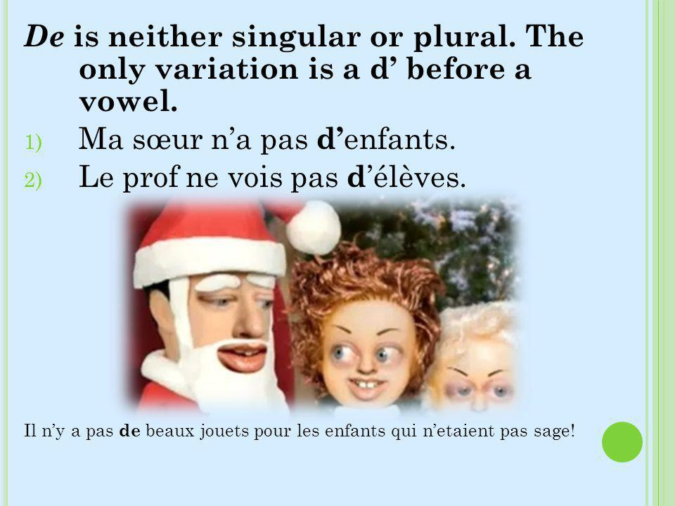 De is neither singular or plural. The only variation is a d before a vowel. 1) Ma sœur na pas d enfants. 2) Le prof ne vois pas d élèves. Il ny a pas