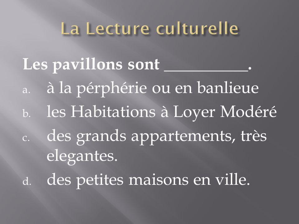 Les pavillons sont __________. a. à la pérphérie ou en banlieue b. les Habitations à Loyer Modéré c. des grands appartements, très elegantes. d. des p