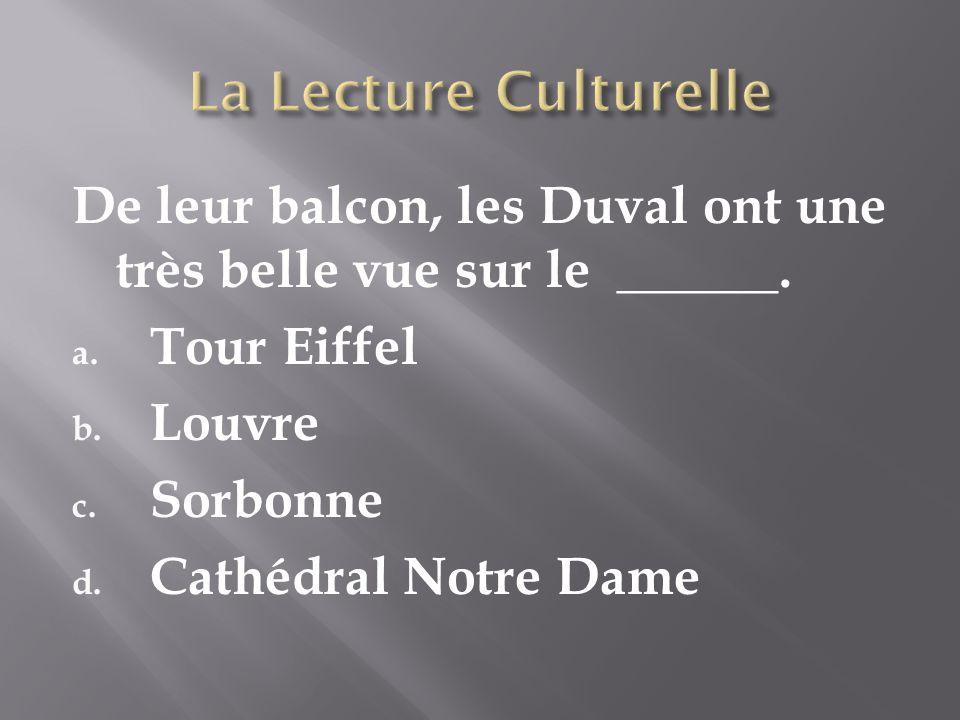 De leur balcon, les Duval ont une très belle vue sur le ______. a. Tour Eiffel b. Louvre c. Sorbonne d. Cathédral Notre Dame