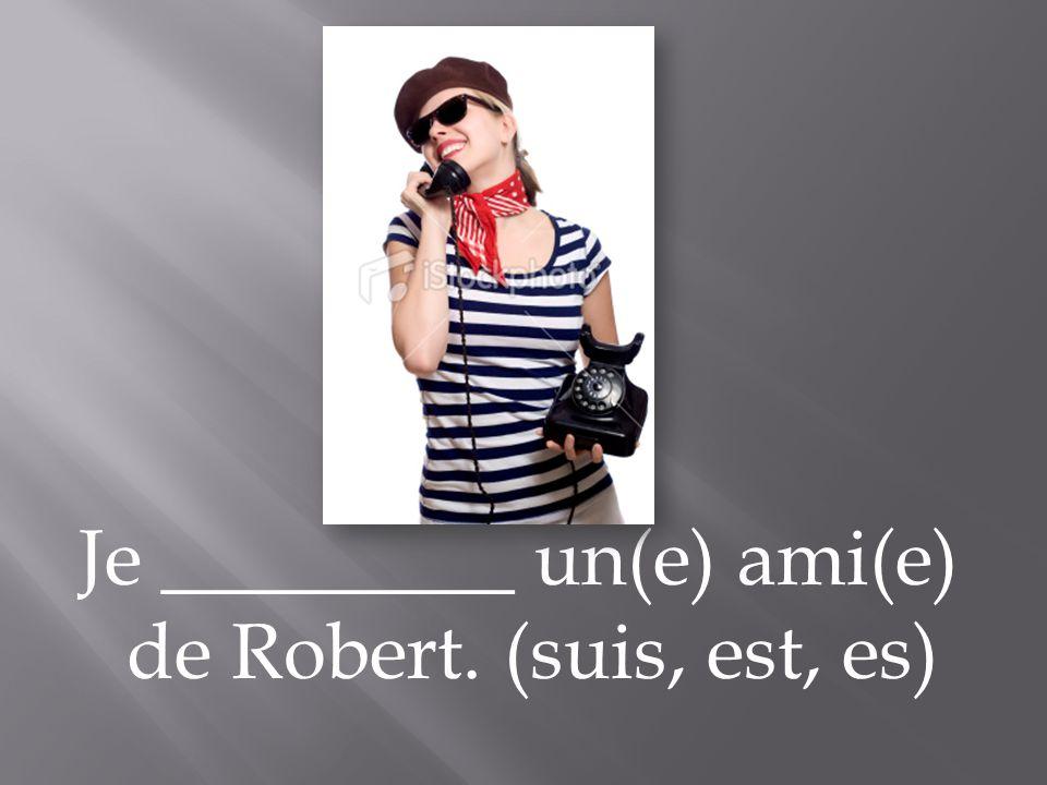 Je _________ un(e) ami(e) de Robert. (suis, est, es)