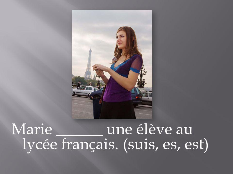 Marie ______ une élève au lycée français. (suis, es, est)