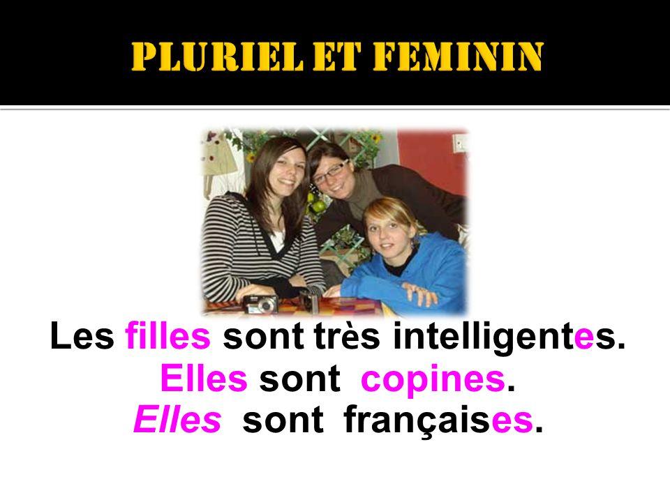 Les filles sont tr è s intelligentes. Elles sont copines. Elles sont françaises.