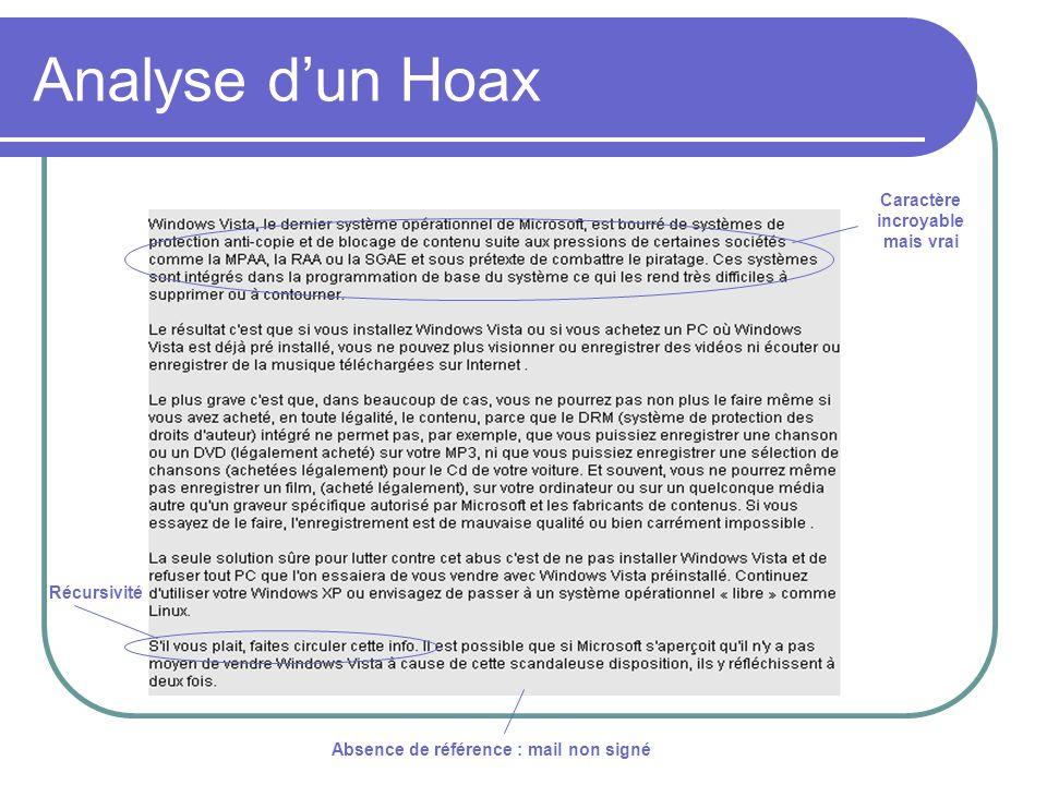 Analyse dun Hoax Absence de référence : mail non signé Caractère incroyable mais vrai Récursivité