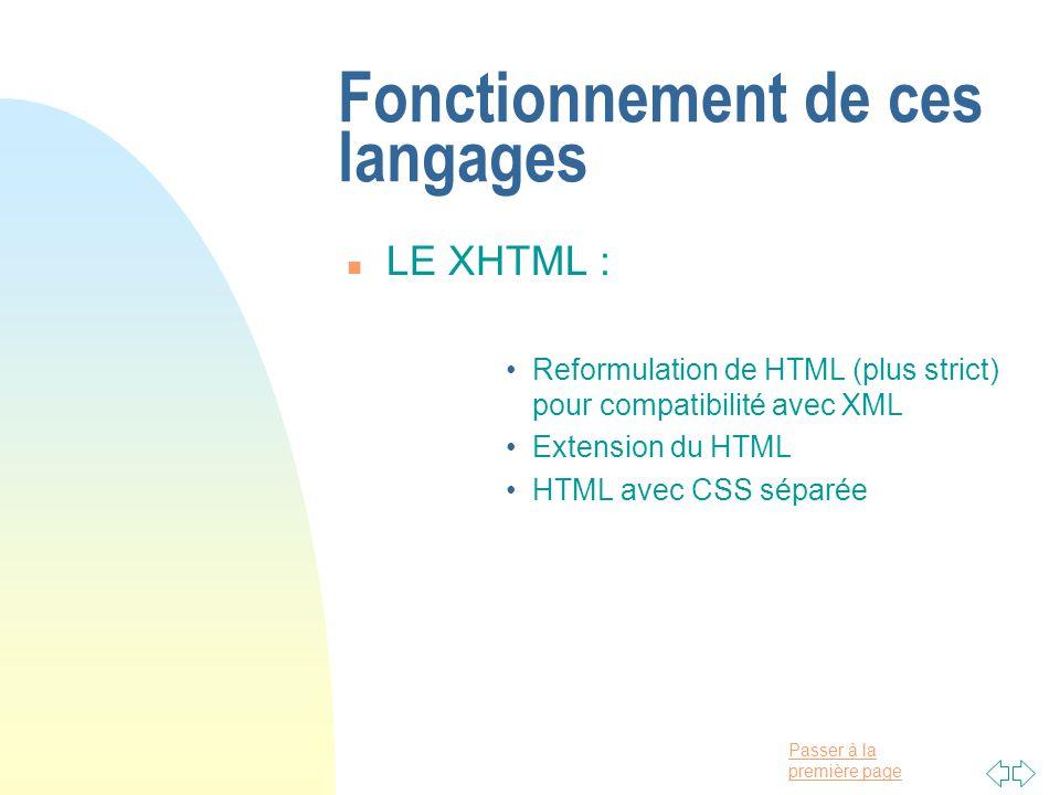 Passer à la première page Fonctionnement de ces langages n LE XHTML : Reformulation de HTML (plus strict) pour compatibilité avec XML Extension du HTML HTML avec CSS séparée