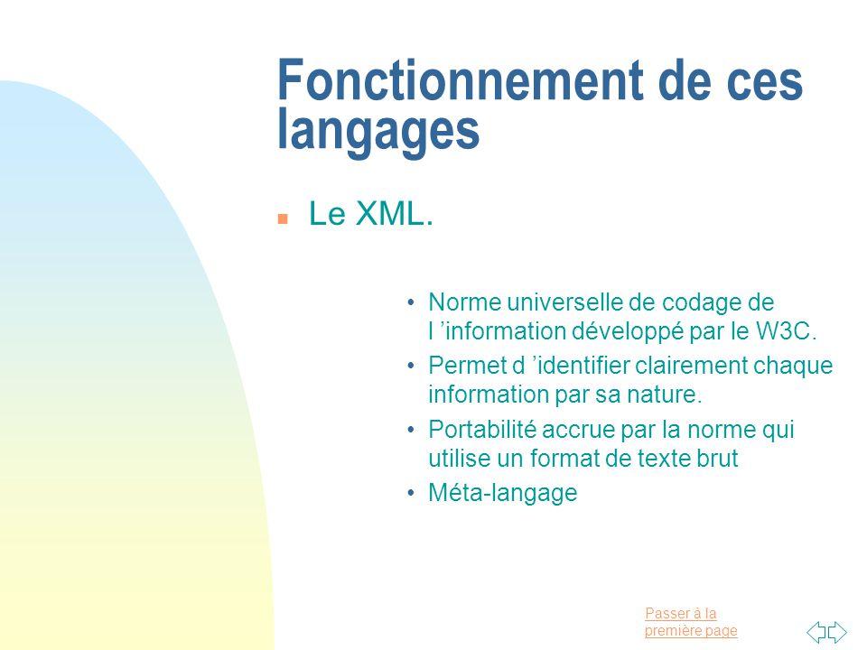 Passer à la première page Fonctionnement de ces langages n Le XML.