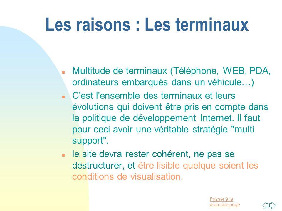 Passer à la première page Les raisons : Les terminaux n Multitude de terminaux (Téléphone, WEB, PDA, ordinateurs embarqués dans un véhicule…) n C est l ensemble des terminaux et leurs évolutions qui doivent être pris en compte dans la politique de développement Internet.