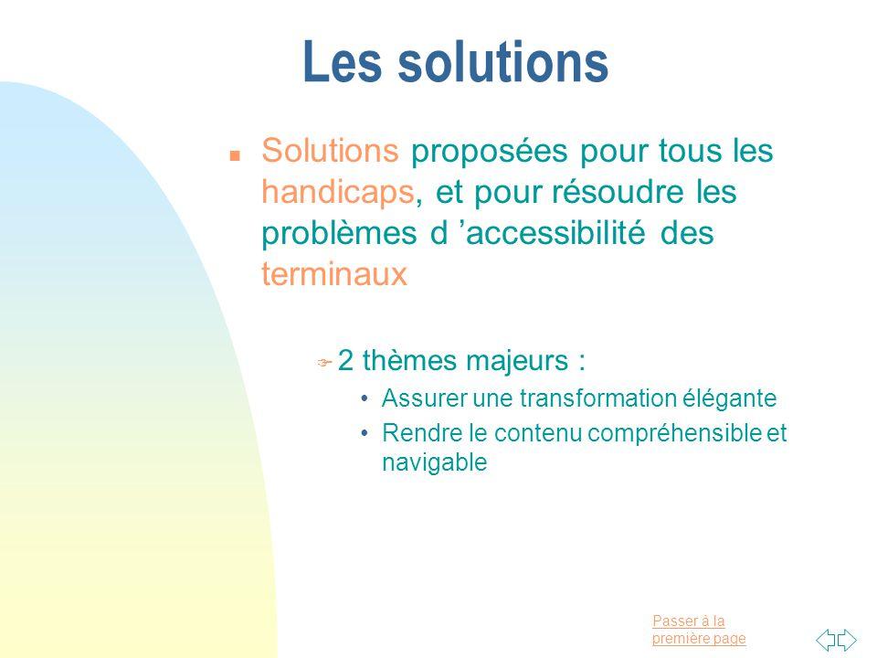 Passer à la première page Les solutions n Solutions proposées pour tous les handicaps, et pour résoudre les problèmes d accessibilité des terminaux F 2 thèmes majeurs : Assurer une transformation élégante Rendre le contenu compréhensible et navigable