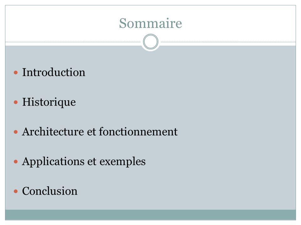 Sommaire Introduction Historique Architecture et fonctionnement Applications et exemples Conclusion