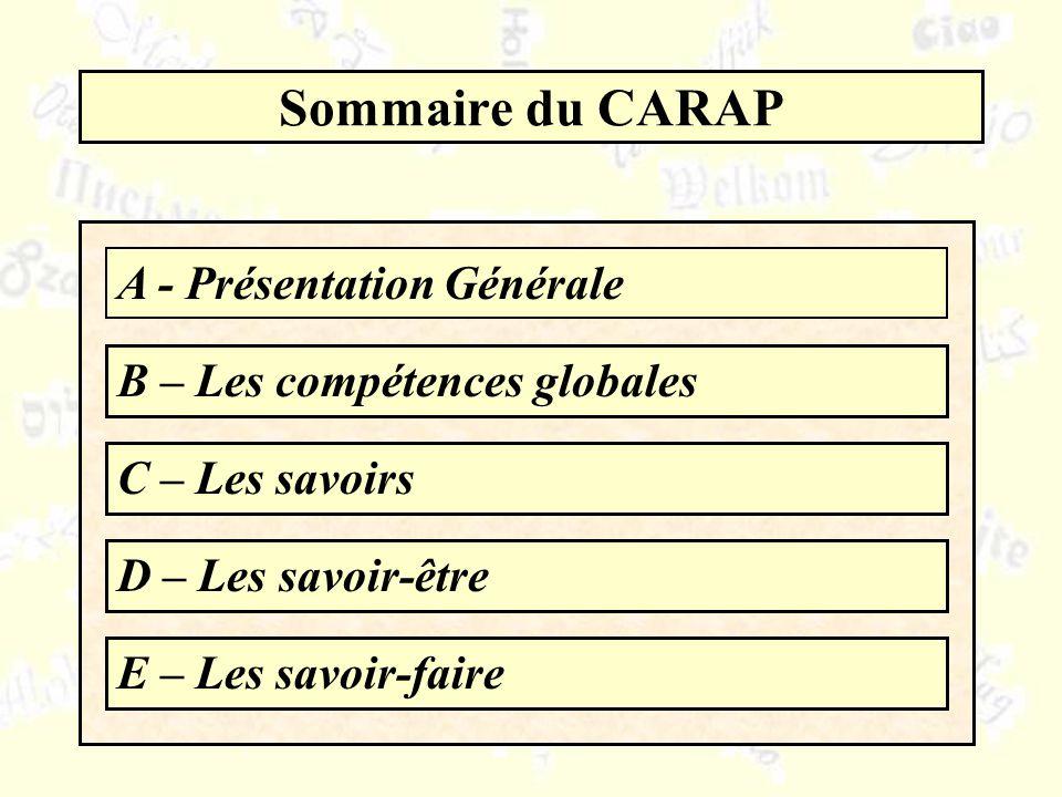 Sommaire du CARAP A - Présentation Générale B – Les compétences globales C – Les savoirs D – Les savoir-être E – Les savoir-faire