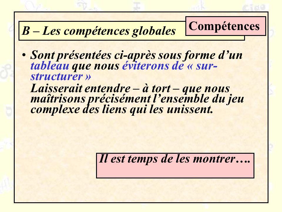 B – Les compétences globales Compétences Sont présentées ci-après sous forme dun tableau que nous éviterons de « sur- structurer » Laisserait entendre