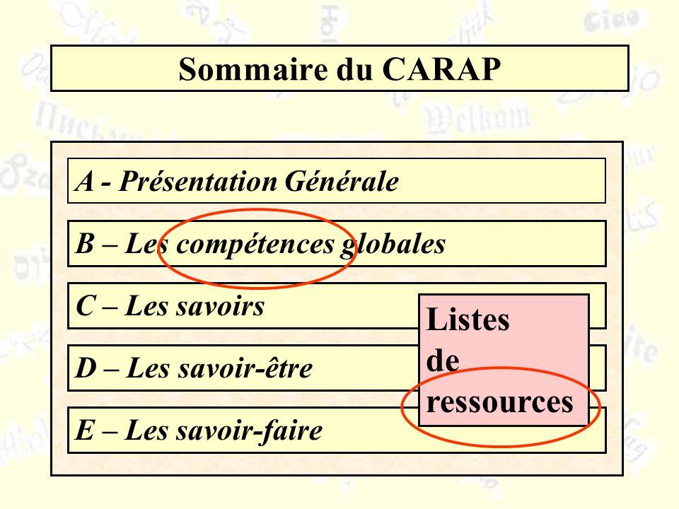 Sommaire du CARAP A - Présentation Générale B – Les compétences globales C – Les savoirs D – Les savoir-être E – Les savoir-faire Listes de ressources
