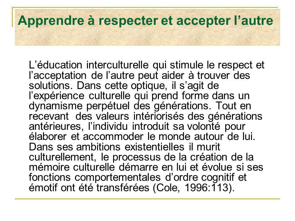 Apprendre à respecter et accepter lautre Léducation interculturelle qui stimule le respect et lacceptation de lautre peut aider à trouver des solution