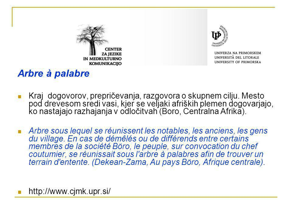 Arbre à palabre Kraj dogovorov, prepričevanja, razgovora o skupnem cilju. Mesto pod drevesom sredi vasi, kjer se veljaki afriških plemen dogovarjajo,